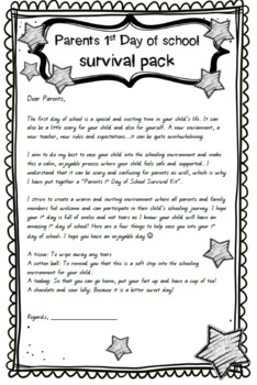 First Day of School Parent Survival Note