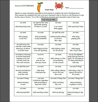 First Day of School People Bingo: Action Edition  Grades 2, 3, 4