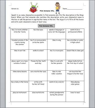 First Day of School - People Bingo - Grades 3-6, 7-10