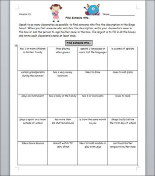 First Day of School - People Bingo - Grades 3-6, 7-10