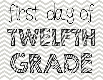 First Day of School Photo Set Gray Chevron K-12