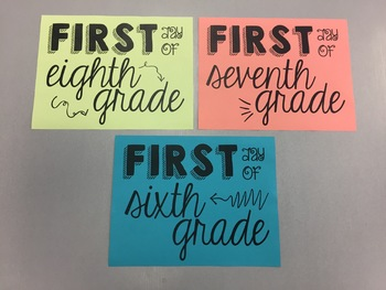 First Day of School Picture Signs *middle/high school version*