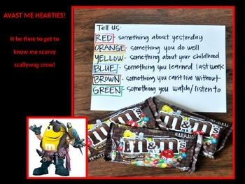 First Day of School Pirate Themed M & M's Get to Know Me Activity