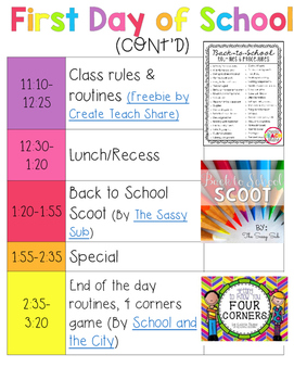 First Day of School Plans