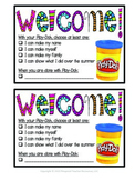 First Day of School Play-Doh Welcome Card with Instruction