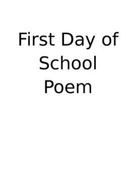 First Day of School Poem