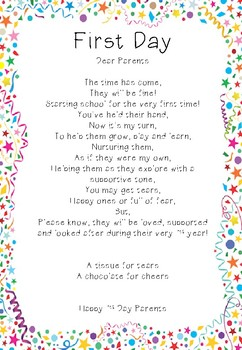 First Day of School Poem for Parents