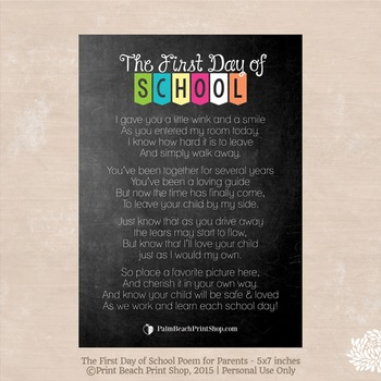 First Day of School Poem for Parents (From Teacher)