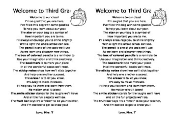 First Day of School Poem for Welcome Goody Bag