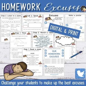 Back to School Writing - Fun Homework Excuses