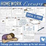 Back to School Writing Activities   Homework Excuses Unit