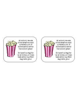 First Day of School Popcorn Labels
