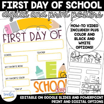 First Day of School Poster Board {Digital and Paper}