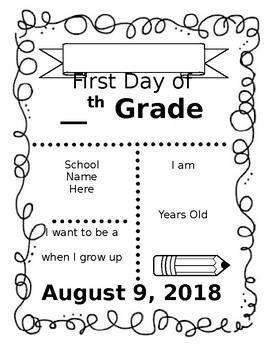 First Day of School Poster Printable