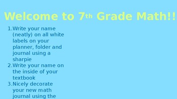 First Day of School PowerPoint - 7th Grade Math