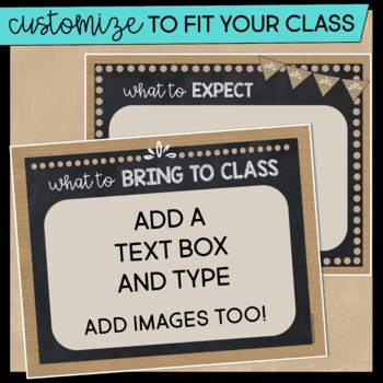 First Day of School PowerPoint EDITABLE Burlap and Chalkboard Edition