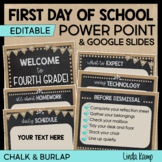 First Day of School Power Point Templates Burlap and Chalkboard Farmhouse Theme