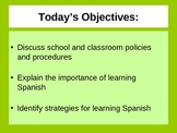First Day of School PowerPoint Spanish I
