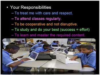 First Day of School PowerPoint, Class Expectations, Goal Setting