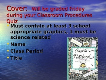 First Day of School PowerPoint with Interactive Science Notebook Instructions