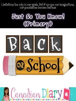 First Day of School Primary Activities