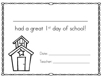 First Day of School Printable Award