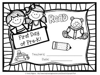 First Day of School Printable - Pre-K/PreK/Pre K