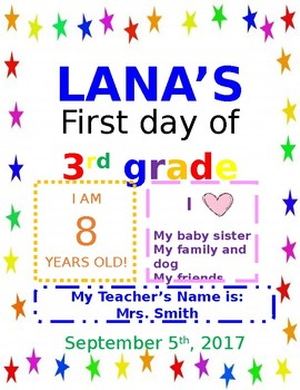 First Day of School Printable (editable)