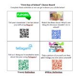 First Day of School QR Code Choice Board