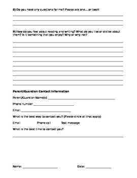 First Day of School Questionaire