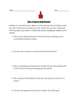 First Day of School/Back to School Questionnaire