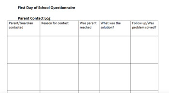First Day of School Questionnaire