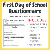 First Day of School Questionnaire: Instant Bell Work (Google Docs & PDF)