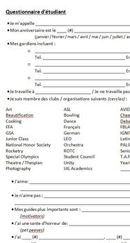 First Day of School Questionnaire in French