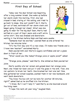 First Day of School Reading Passage