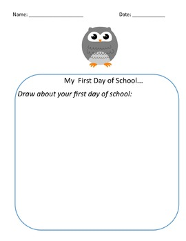 First Day of School Reflection Bundle Owl Theme