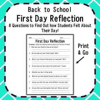 First Day of School Reflection {Print & Go Back to School Activity}