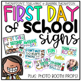 First Day of School SIGNS and Photo Booth PROPS for grades K-6