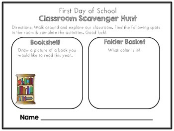 First Day of School Scavenger Hunt!