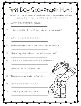 First Day of School Classroom Scavenger Hunt