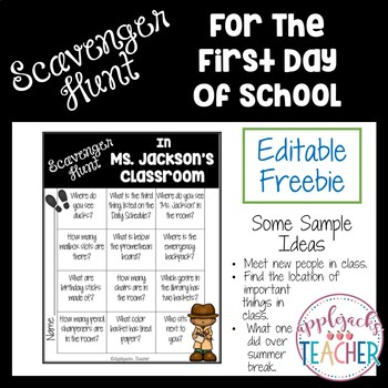 First Day of School - Scavenger Hunt (Editable)