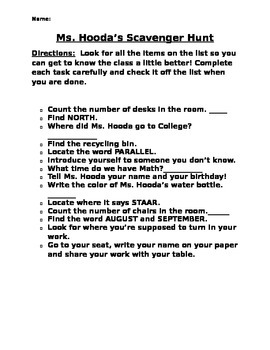 First Day of School Scavenger Hunt *Editable*