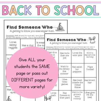 First Day of School Scavenger Hunt: Find Someone Who
