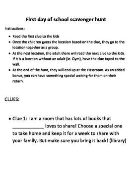 First Day of School Scavenger Hunt Kindergarten Early Primary