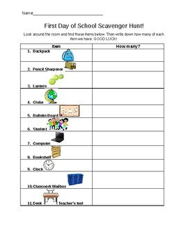 First Day of School Scavenger Hunt- with PICTURES! (editable)