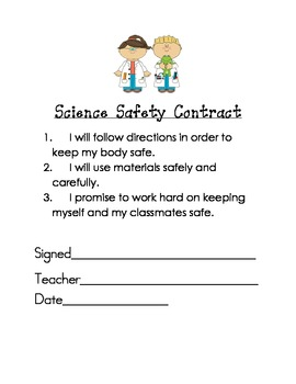 First Day of School- Science Safety Contract