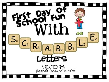 First Day of School Scrabble Letter Activity
