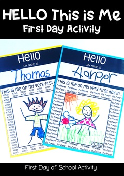 First Day of School Self Portrait and Name Writing Template