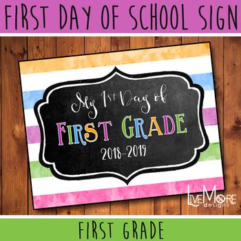 First Day of School Sign - 1st Grade - Stripe/Chalkboard Back To School