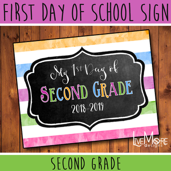 First Day of School Sign - 2nd Grade - Stripe/Chalkboard Back To School